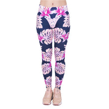 Load image into Gallery viewer, Pink Vegetation Printing High Waist Women Leggings