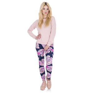 Pink Vegetation Printing High Waist Women Leggings