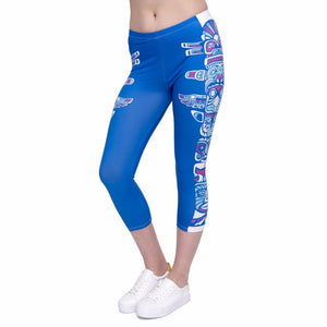 Totem Blue Printing Mid-Calf 3/4 Women Capri Leggings