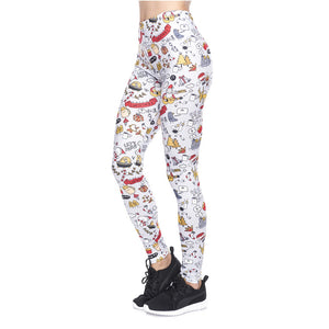 Christmas Goodle Printing High Waist Women Leggings