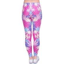 Load image into Gallery viewer, Weeds Pink Printing High Waist Women Leggings