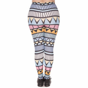 Aztec Niebieski Printing Plus Size Women Leggings