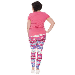 Boho Pink Printing Plus Size Women Leggings