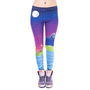 Pixel Fuji Printing High Waist Women Leggings