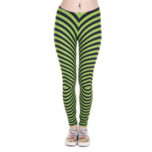 Load image into Gallery viewer, Green With Black Stripes Printing High Waist Women Leggings