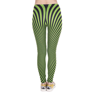 Green With Black Stripes Printing High Waist Women Leggings