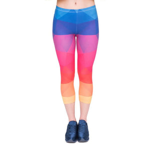 Triangles Rainbow Printing Mid-Calf 3/4 Women Capri Leggings