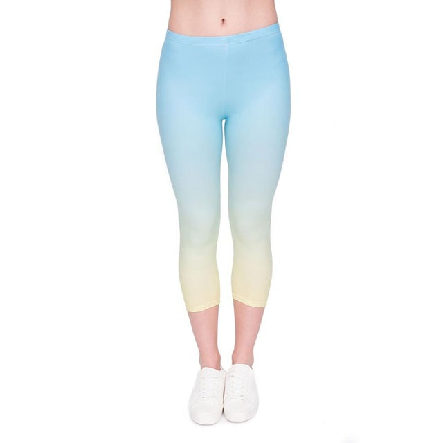 Ombre Yellow Printing Mid-Calf 3/4 Women Capri Leggings