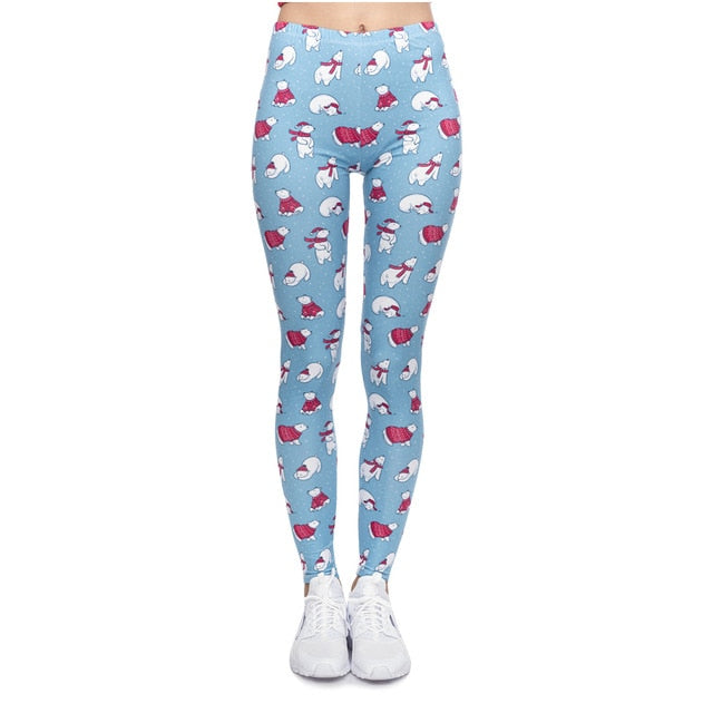 Christmas Polar Bears Printing High Waist Women Leggings