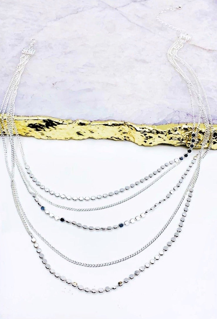 Meg Layered Necklace in Silver