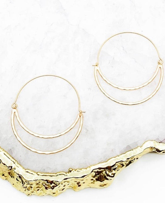 Hammered Crescent Hoops in Matte Gold