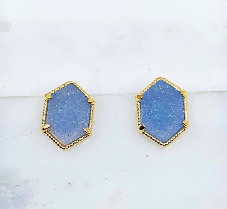 Hexagon Druzy Stones in Blue