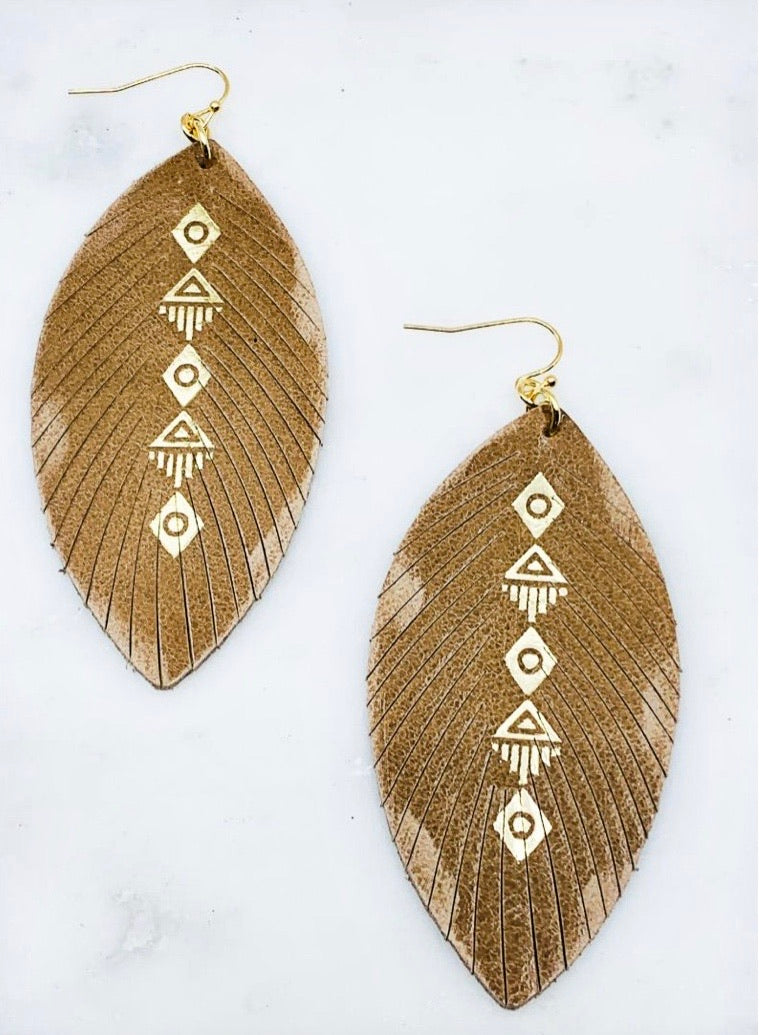 Leather Fringed Gold Foil Earring