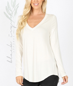Luxe Long Sleeve Favorite Tee in Ivory