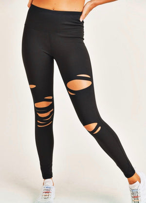 Distressed High Waist Legging