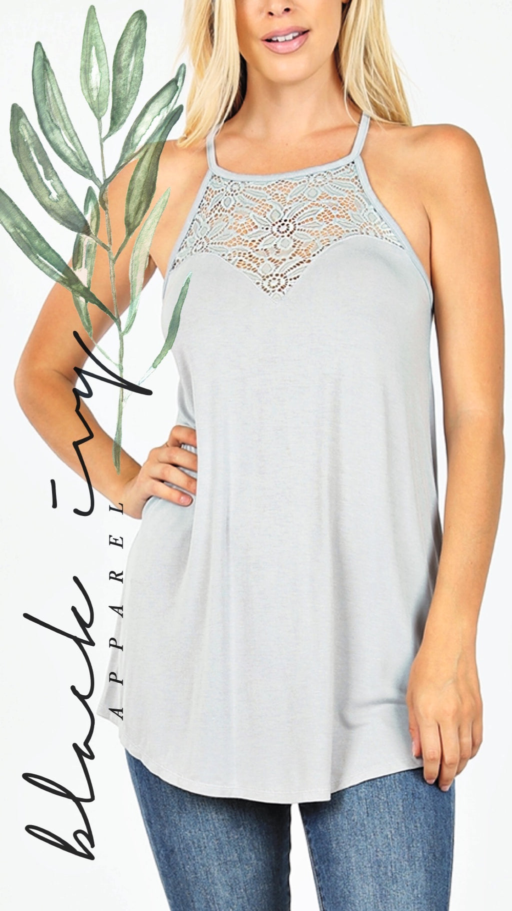 Luxe Lace Tank in Grey