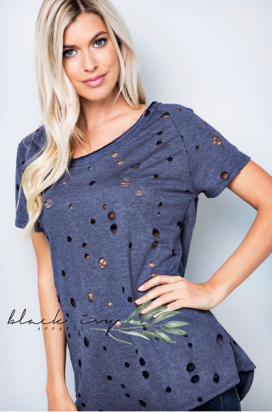 Distressed Weekend Tee in Navy