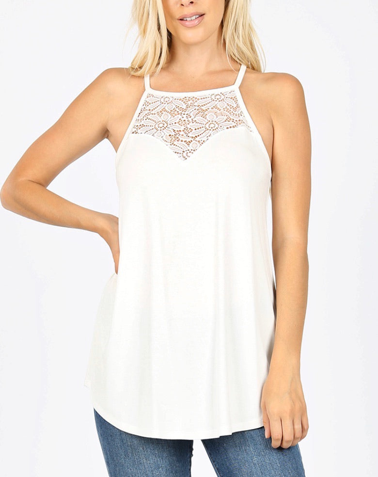 Luxe Lace Tank in Ivory