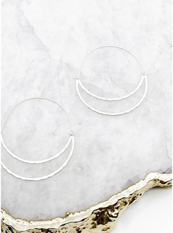 Hammered Crescent Hoops in Matte Silver