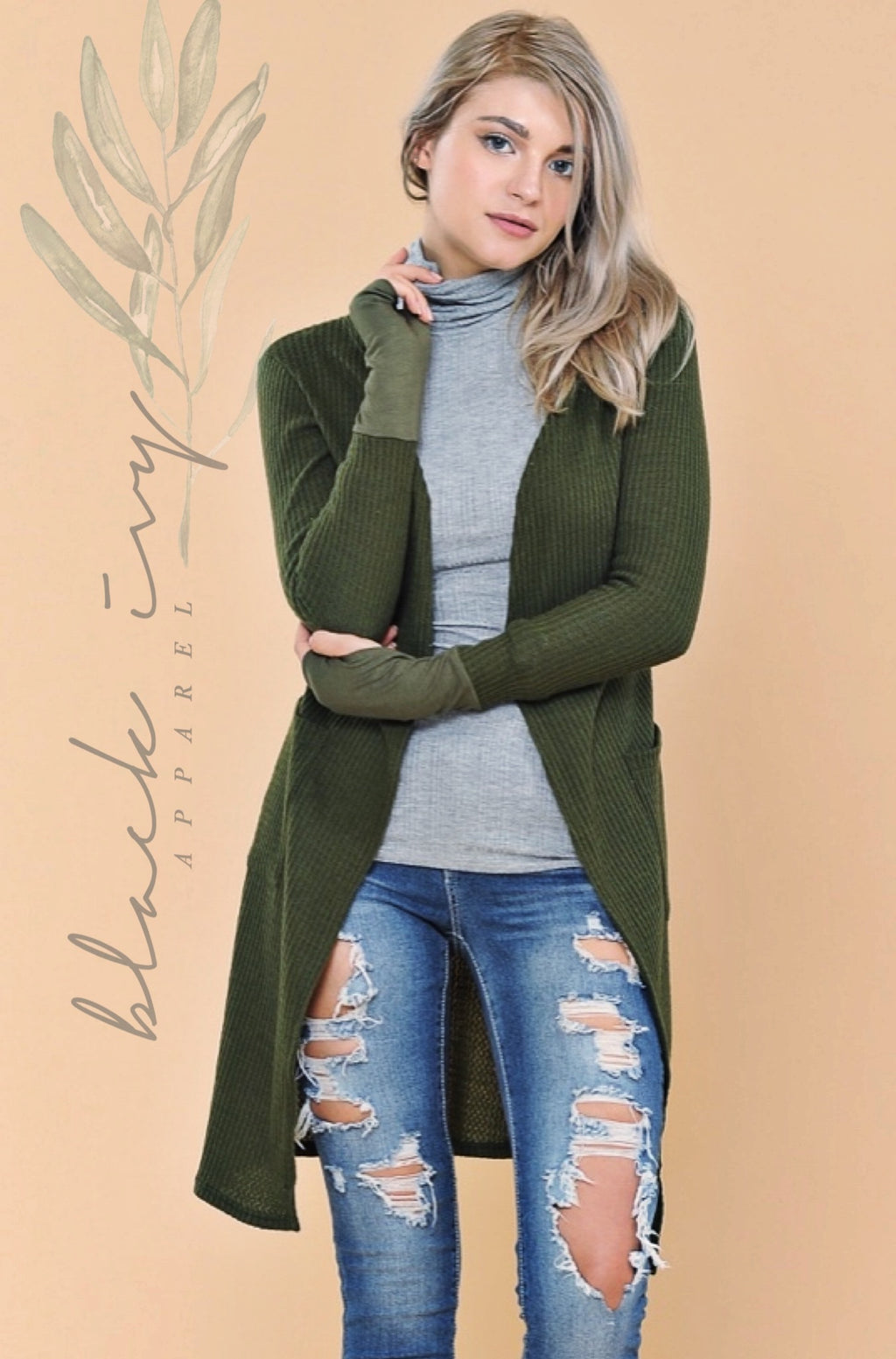 Rossi Ribbed Thumbhole Cardi in Olive