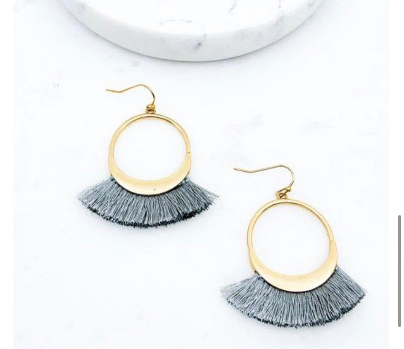 Grey Fan Tassel Earring