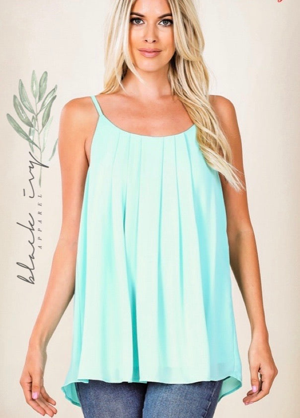 Pleated Cami in Blue Mint