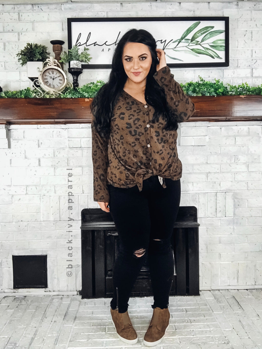 Lane Leopard Button Top