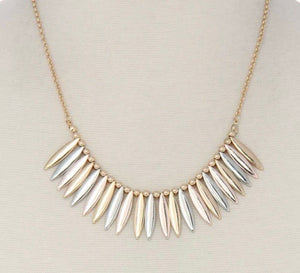 Mixed Metal Fringe Necklace
