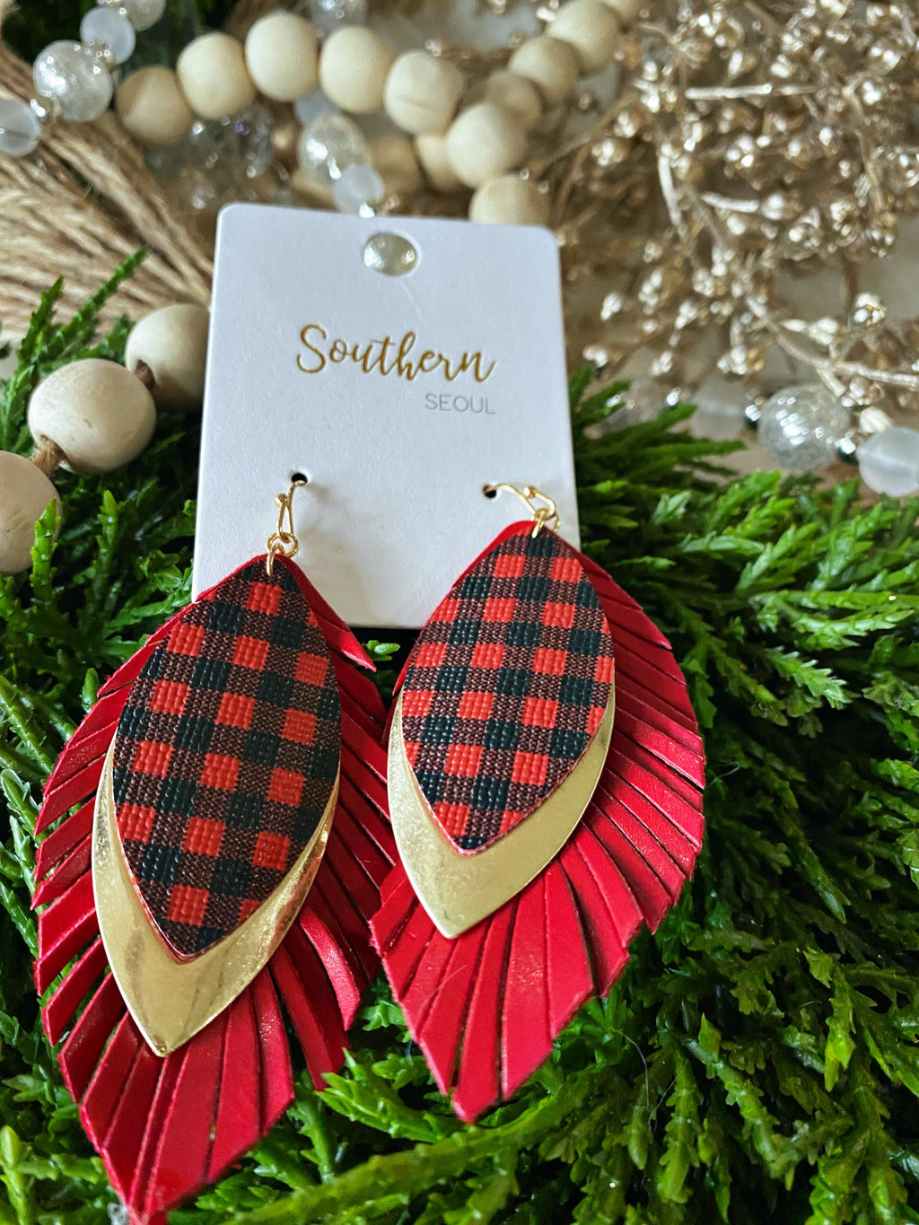 *DOOR BUSTER* Red Buffalo Plaid Teardrops