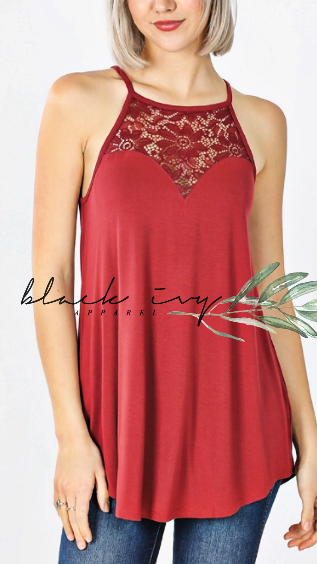 Luxe Lace Tank in Brick Red