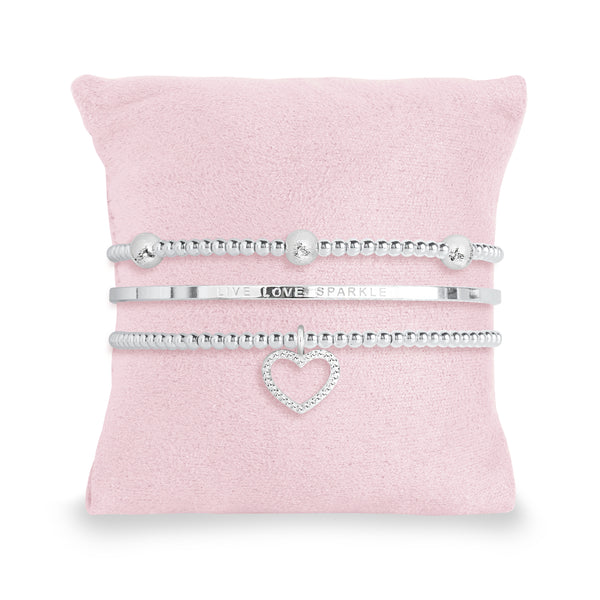 Occasion Gift Box - Live Love Sparkle - x3 Stacking Bracelets - Silver - 17.5cm Adjustable