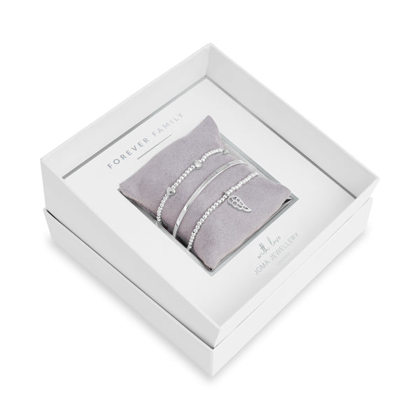 Occasion Gift Box - Forever Family - x3 Stacking Bracelets- Silver - 17.5cm Adjustable