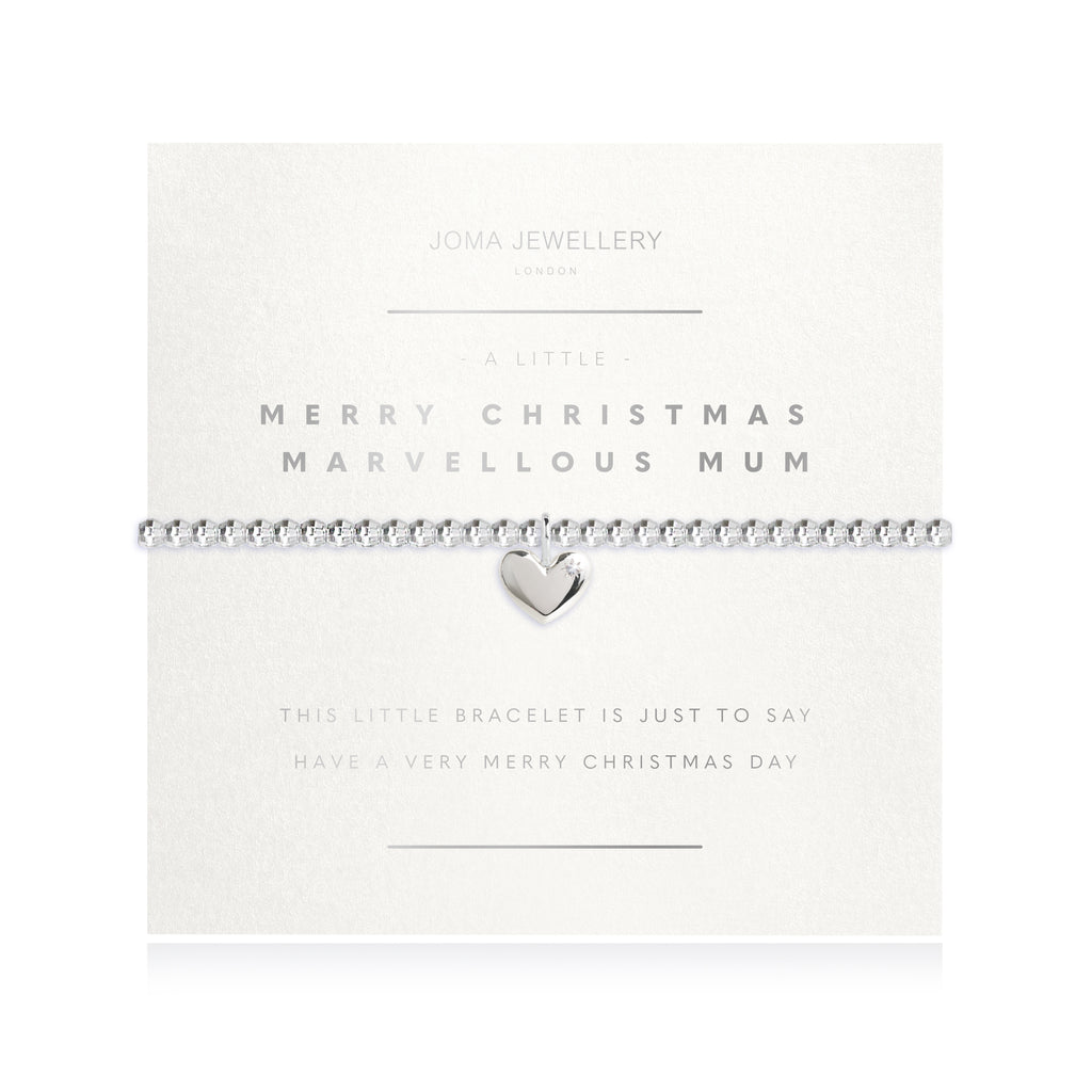 Facetted A Little - Merry Christmas Marvellous Mum - Silver- 17.5cm stretch