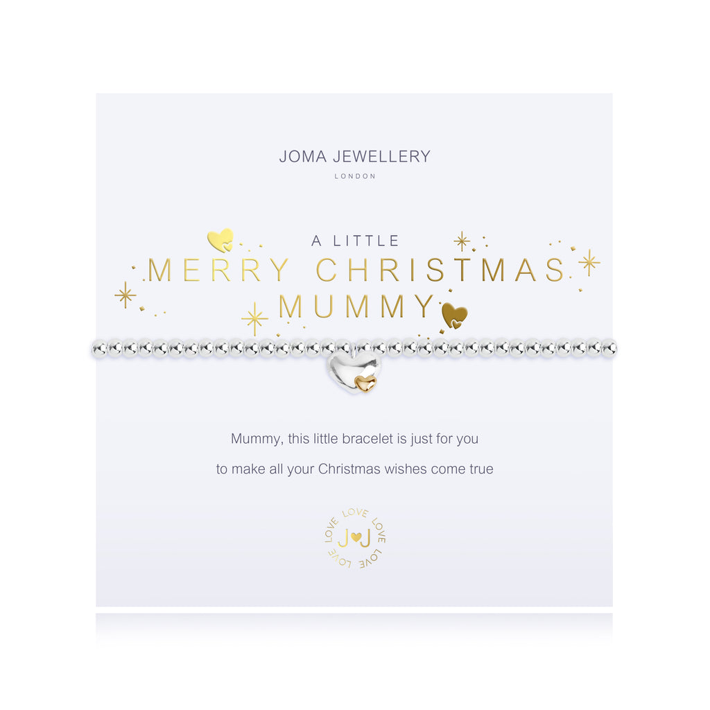 A Little - Merry Christmas Mummy - Silver/Yellow Gold- 17.5cm stretch