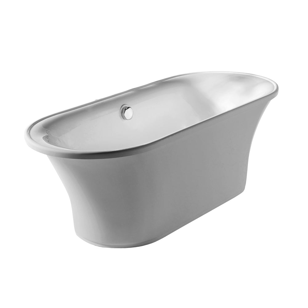 Bathhaus Oval Double Ended Freestanding Lucite Acrylic Bathtub with a Chrome Mechanical Pop-up Waste and Chrome Center Drain with Internal Overflow - AlternativeRoute