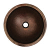 "Copperhaus Round Drop-in/Undermount Copper basin with a Hammered Texture  & 1 1/2"" Center Drain - AlternativeRoute"