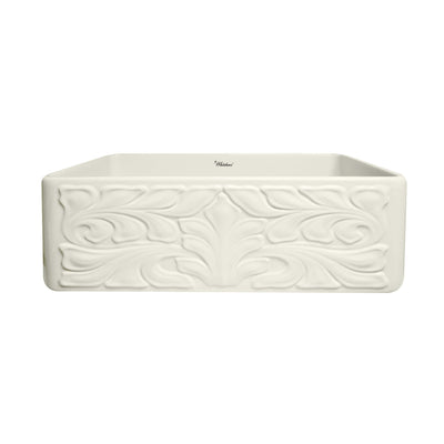 Farmhaus Fireclay Reversible Sink with a Gothichaus Swirl Design Front Apron on One Side, and a Fluted Front Apron on the Opposite Side. - AlternativeRoute