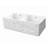 Farmhaus Fireclay Reversible Double Bowl Sink with a Gothichaus Swirl Design Front Apron on One Side, and a Fluted Front Apron on the Opposite Side. - AlternativeRoute