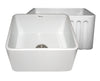 Farmhaus Fireclay Reversible Sink with Smooth Front Apron on One Side and Fluted Front Apron on the Opposite Side - AlternativeRoute
