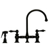 Vintage III Bridge Faucet with Long Gooseneck Swivel Spout, Lever Handles and Solid Brass Side Spray - AlternativeRoute