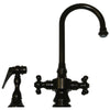 Vintage III Dual Handle Entertainment/Prep Faucet with Short Gooseneck Swivel Spout, Cross Handles and Solid Brass Side Spray - AlternativeRoute