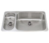 Noah's Collection Brushed Stainless Steel Double Bowl Undermount Disposal Sink - AlternativeRoute