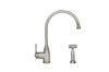 Queenhaus Single Lever Faucet with Long Gooseneck Spout, Porcelain Single Lever Handle and Solid Brass Side Spray - AlternativeRoute