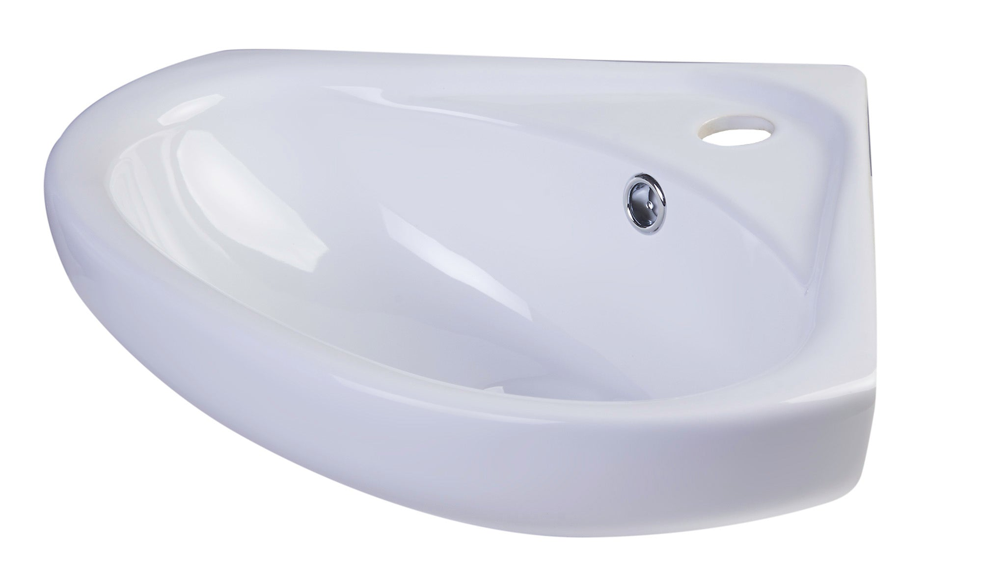"ALFI brand AB109  18"" White Corner Porcelain Wall Mounted Bath Sink - AlternativeRoute"