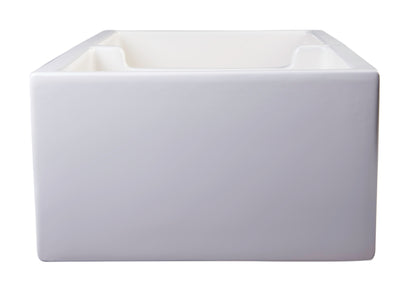 "ALFI brand AB3918ARCH-B  39"" Biscuit Arched Apron Thick Wall Fireclay Double Bowl Farm Sink - AlternativeRoute"