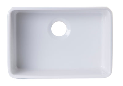 ALFI brand AB503UM-W 24 inch White Single Bowl Fireclay Undermount Kitchen Sink - AlternativeRoute