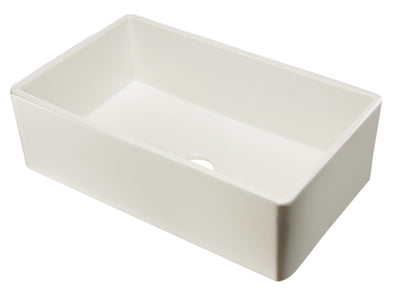 "ALFI brand AB533-B 33"" Biscuit Smooth Apron Single Bowl Fireclay Farm Sink - AlternativeRoute"
