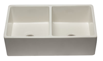 ALFI brand AB3318DB-B 33 inch Biscuit Reversible Double Fireclay Farmhouse Kitchen Sink - AlternativeRoute