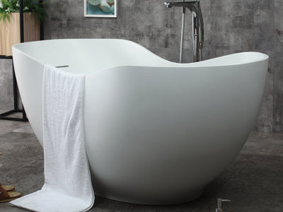 "ALFI brand AB9949 66"" White Solid Surface Smooth Resin Soaking Bathtub - AlternativeRoute"