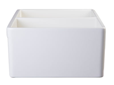 "ALFI brand AB538-B Biscuit 32"" Smooth Apron Double Bowl Fireclay Farmhouse Kitchen Sink - AlternativeRoute"
